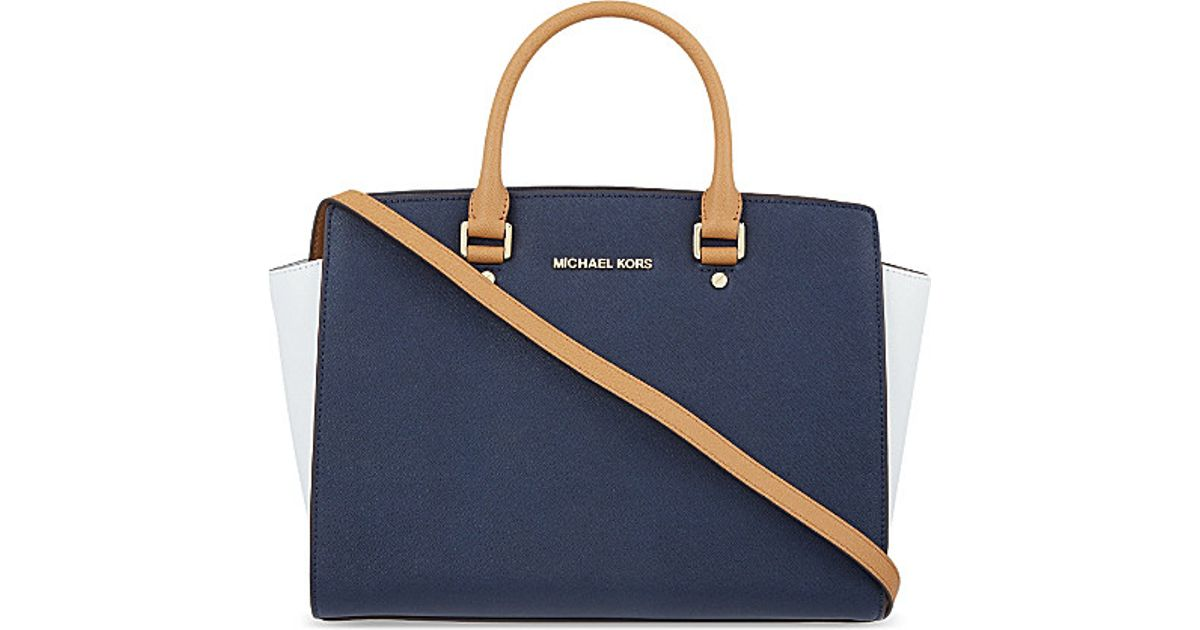 rivenditore online 35d4e 11f3e MICHAEL Michael Kors Blue Selma Large Saffiano Leather Satchel Bag - For  Women