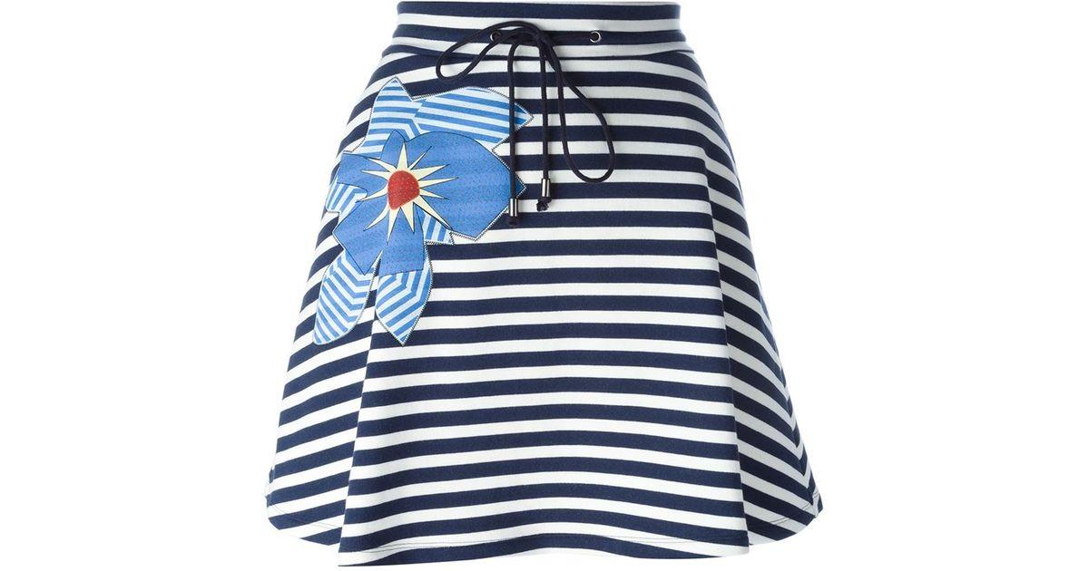 jil sander navy flower appliqu 233 striped skirt in blue lyst