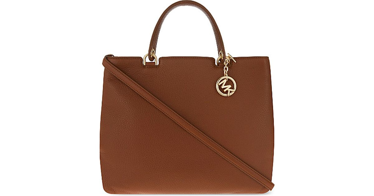 b2e4de0781235 Lyst - MICHAEL Michael Kors Anabelle Extra-large Grained Leather Tote in  Brown