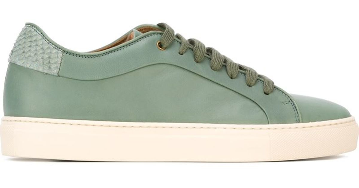 lyst paul smith basso leather low top sneakers in green. Black Bedroom Furniture Sets. Home Design Ideas