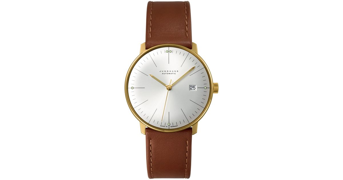 junghans brown calfskin max bill automatic watch in brown. Black Bedroom Furniture Sets. Home Design Ideas