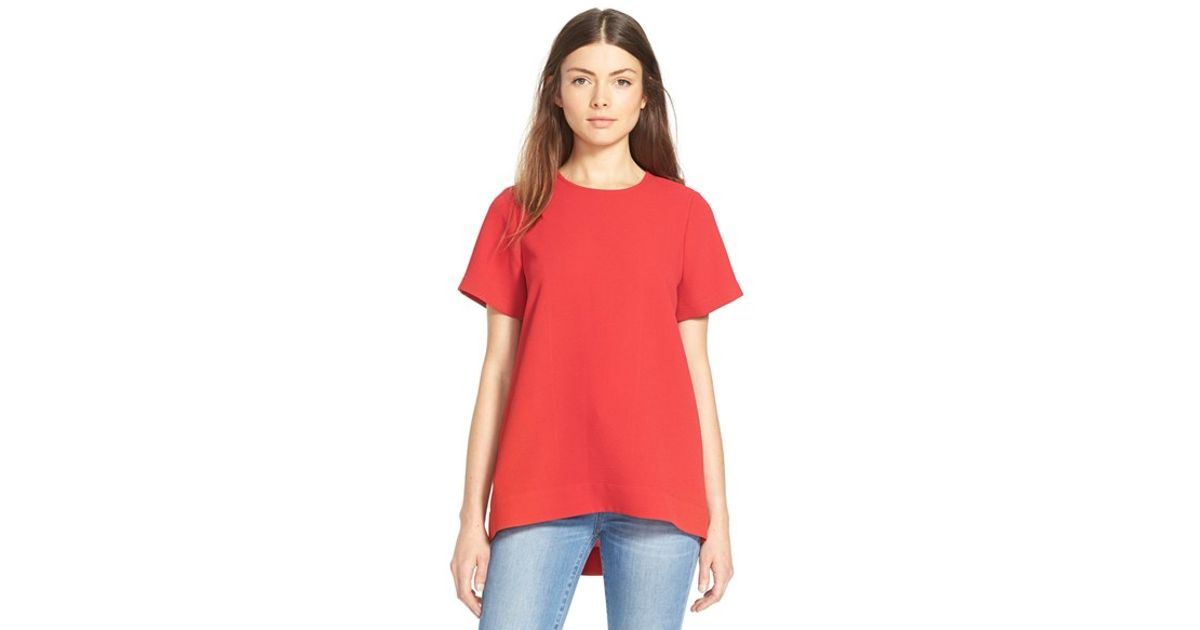 Lyst - Madewell Pleated Short Sleeve Tee in Red 6fa586f1c