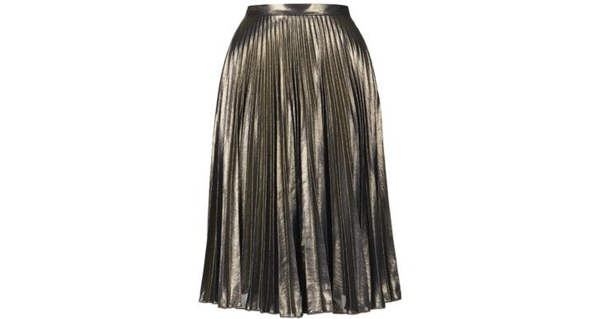 23bb823c11 TOPSHOP Petite Gold Pleat Midi Skirt in Metallic - Lyst