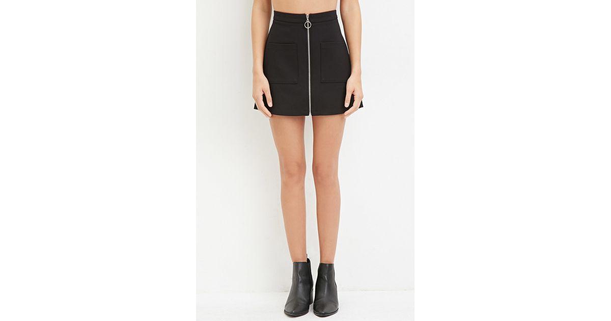 c8fb87b1856e Forever 21 Zip-front Mini Skirt in Black - Lyst