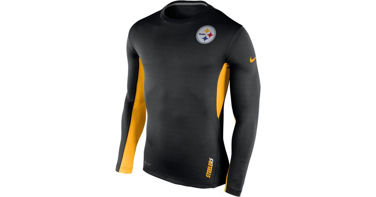 sports shoes 39c2d a1808 Nike Black Men's Long-sleeve Pittsburgh Steelers Vapor T-shirt for men
