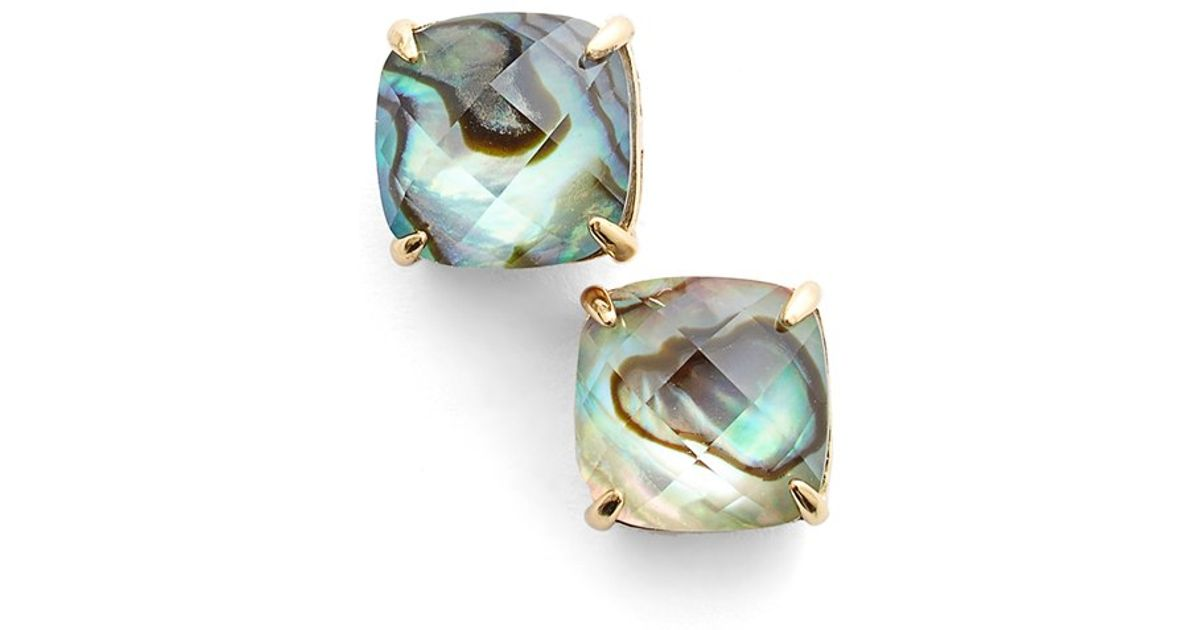 Lyst Kate Spade New York Square Stud Earrings Abalone Ivory In White