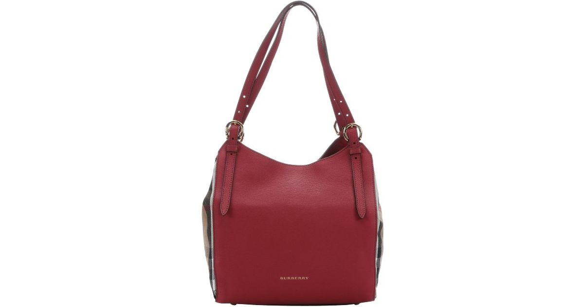 burberry russet red leather and house check canvas small canterbury tote bag in red lyst check small