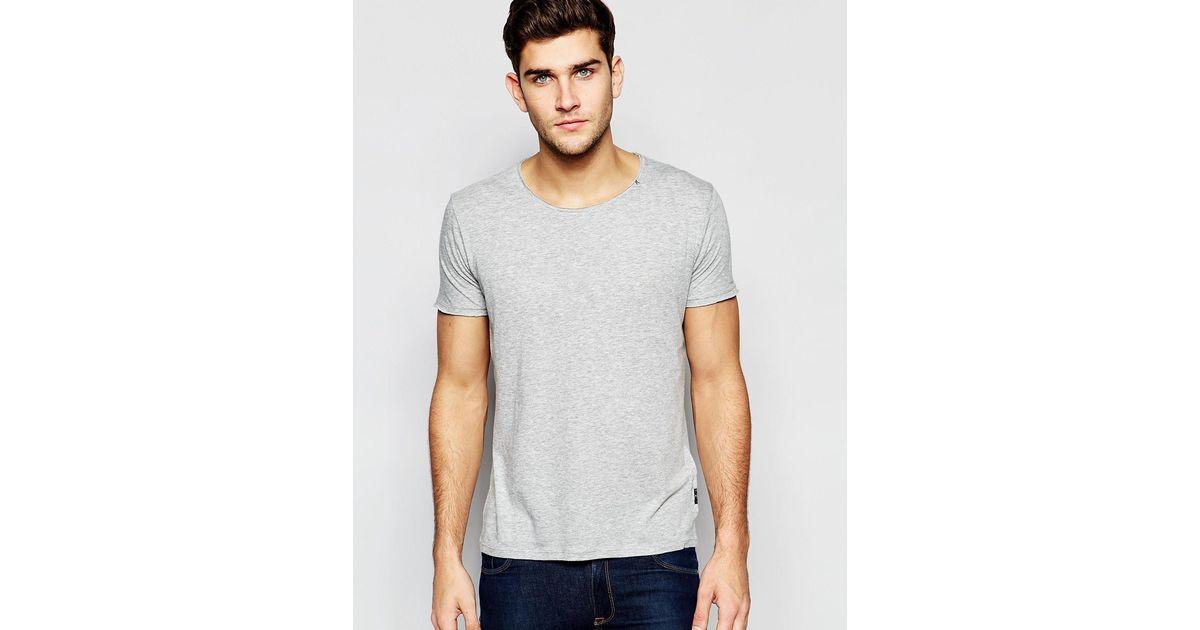 Replay T Shirt Wide Neck Laser Cut In Grey Melange In Gray