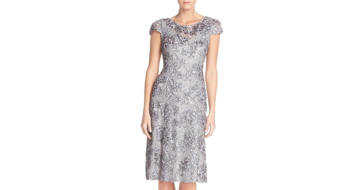 3bbe9c2f Alex Evenings Rosette Lace A-line Dress in Gray - Lyst