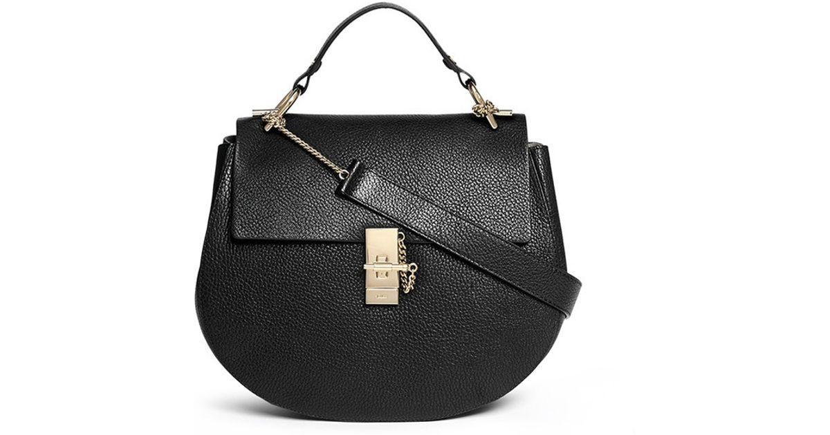 cloe bags - Chlo�� \u0026#39;drew\u0026#39; Medium Pebbled Leather Shoulder Bag in Black | Lyst