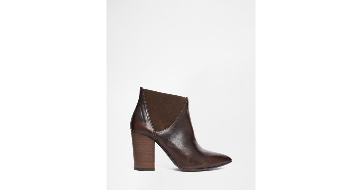 Buy Women Shoes / H By Hudson Crispin Brown Leather Heeled Chelsea Ankle Boots