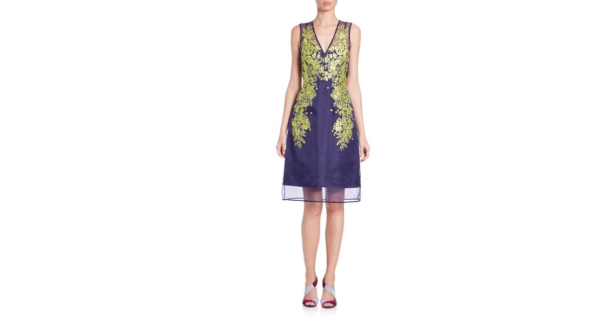 L k bennett lynne floral embroidered sheer silk dress in