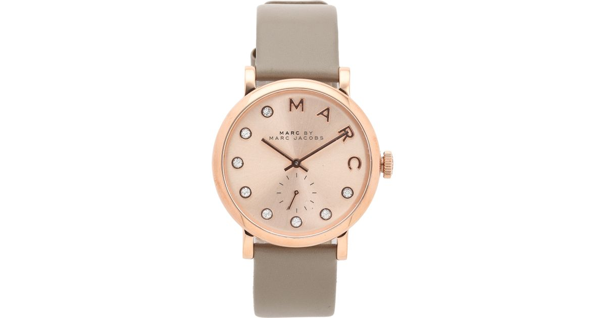 Marc By Marc Jacobs Baker Watch Rose Gold Gravel Grey In Metallic