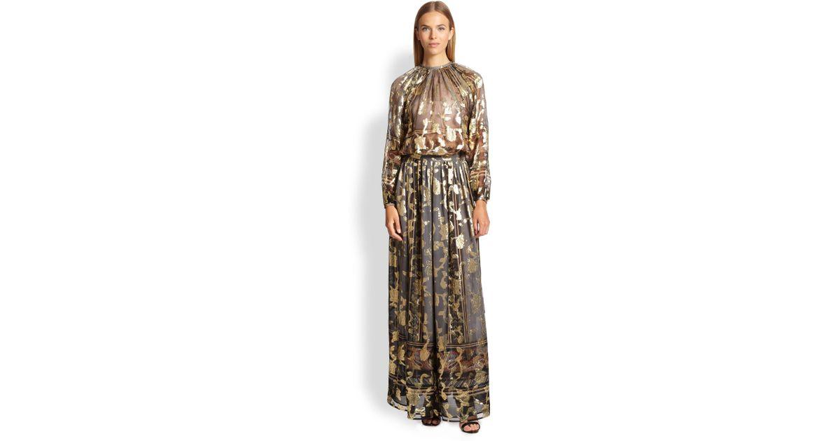 Lyst - Etro Metallic Silk Maxi Skirt in Metallic