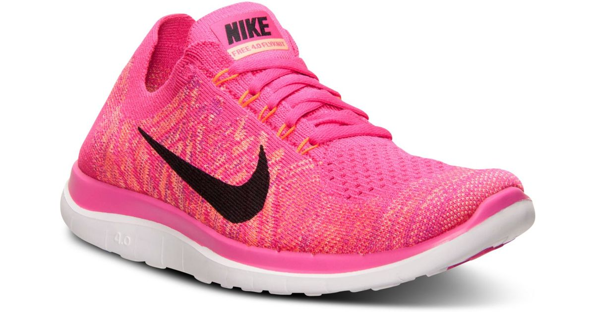 wholesale dealer 0f4a4 c2ccb Lyst - Nike Women s Free Flyknit 4.0 Running Sneakers From Finish Line in  Pink