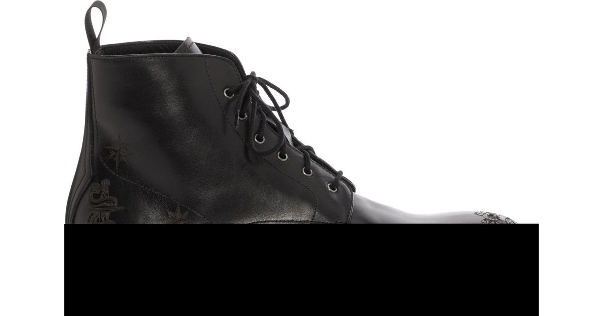ef632fe1f36edb Lyst - Alexander McQueen Lasercut Tattoo Boot in Black for Men