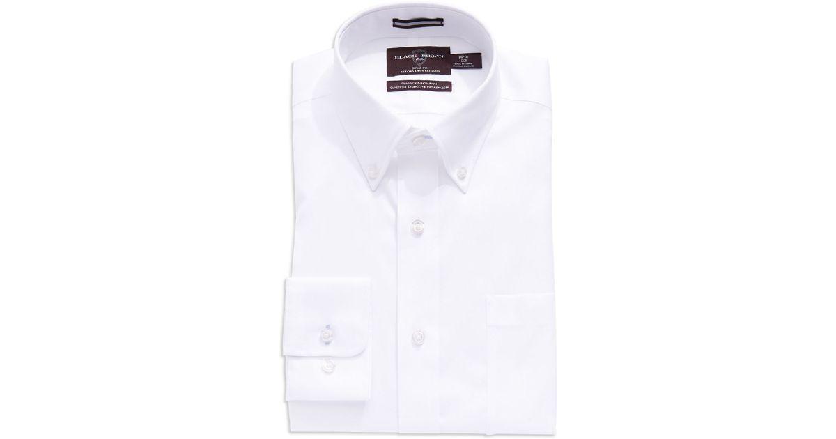 Black brown regular fit button down dress shirt in white for White button down dress shirt