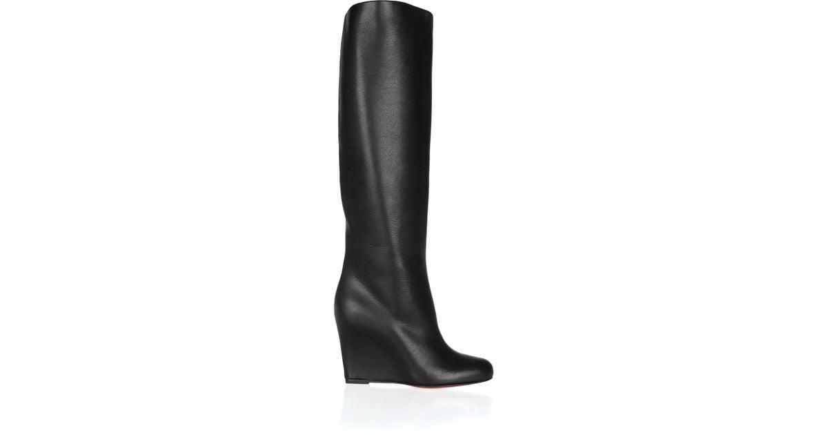 3e9dd8c605e Christian Louboutin Black Zepita 85 Leather Wedge Boots