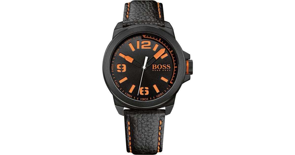 boss orange hugo boss men 39 s new york black leather strap. Black Bedroom Furniture Sets. Home Design Ideas