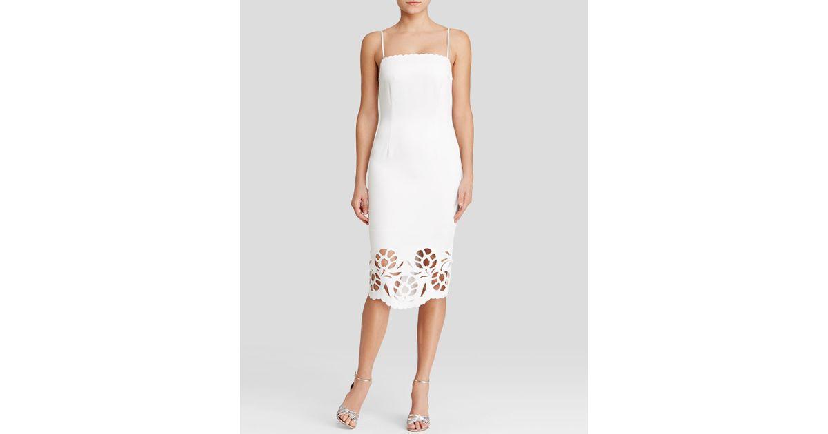f7aabbe5d2 Lyst Cynthia Rowley Dress Sleeveless Laser Cut Hem Midi Sheath