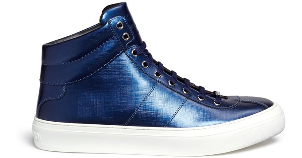 dd5be546f5c12 Jimmy Choo 'belgravia' Metallic Leather High Top Sneakers in Blue for Men -  Lyst