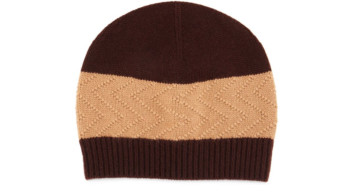 Knitting Pattern Cashmere Hat : Neiman marcus Cashmere-blend Knit Beanie Hat in Brown Lyst