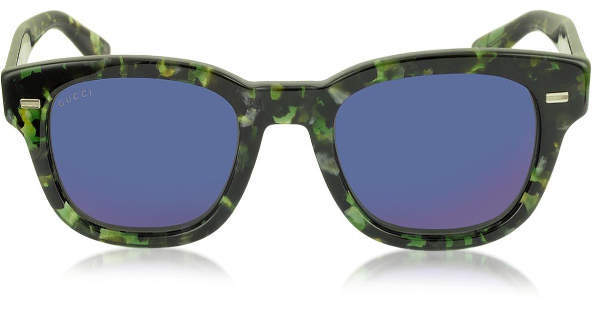 039c5c15ed2 Lyst - Gucci Gg 1079 s Hpemi Havana Green Acetate Round Frame Sunglasses in  Green