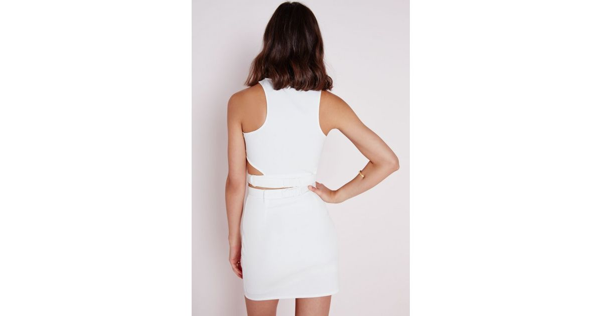 248ef8d781925 Lyst - Missguided Buckle Cut Out Crop Top White in White