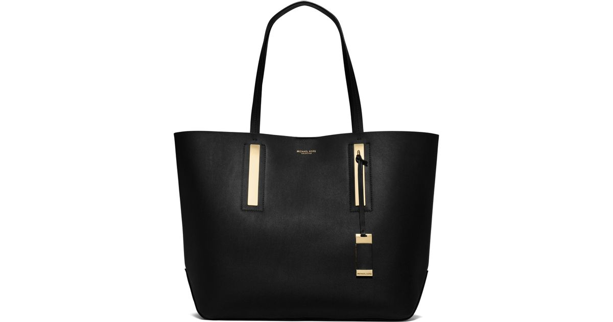 248dc52002d7 ... Bo The Branded Box. Lyst Michael Kors Jaryn Calf Leather Tote In Black