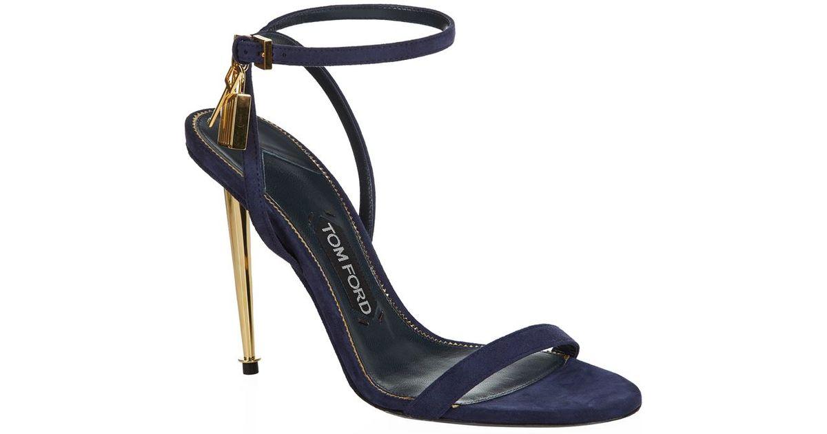 d07afab84d5 Tom Ford Padlock Naked Strap Sandal in Blue - Lyst