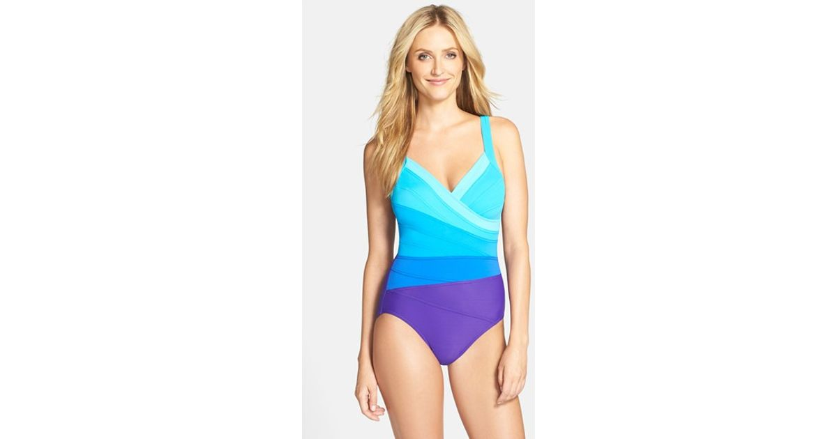 2c33b48028f Lyst - Miraclesuit 'spectra Band-it' One-piece Swimsuit in Purple