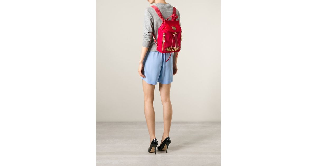 d56ea23f89c6 Lyst - Moschino Logo Plaque Backpack in Red