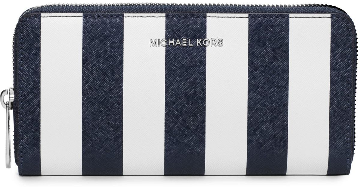 04fd65b62062 Lyst - Michael Kors Jet Set Travel Saffiano Leather Continental Wallet in  Blue
