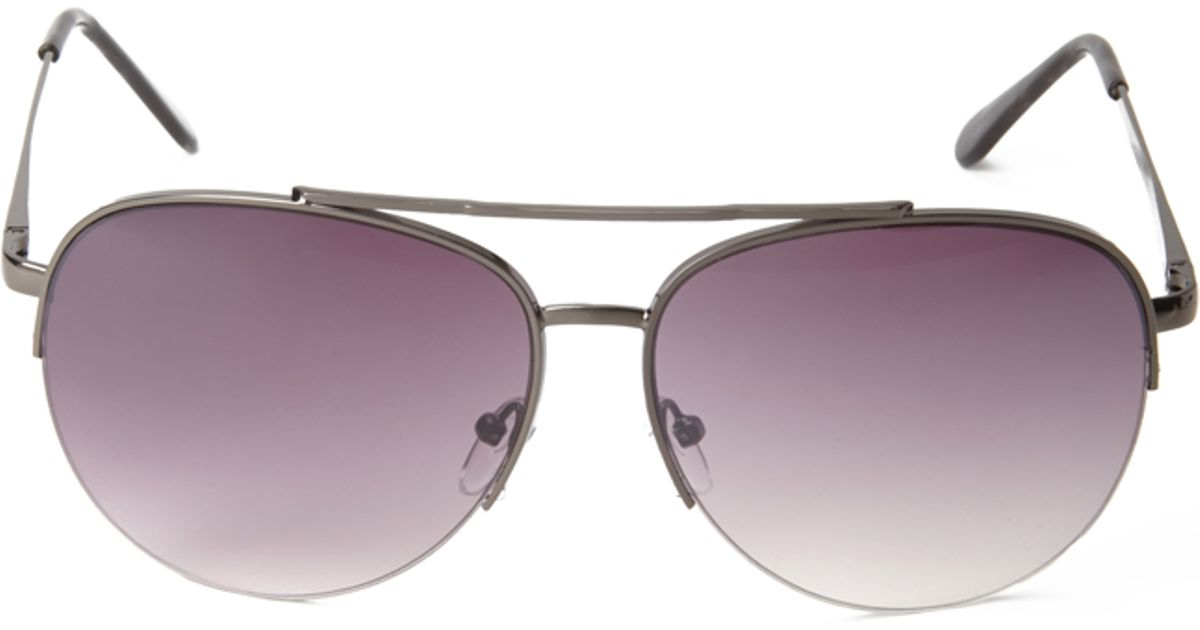 Forever 21 Half-Frame Aviator Sunglasses in Black (Black ...