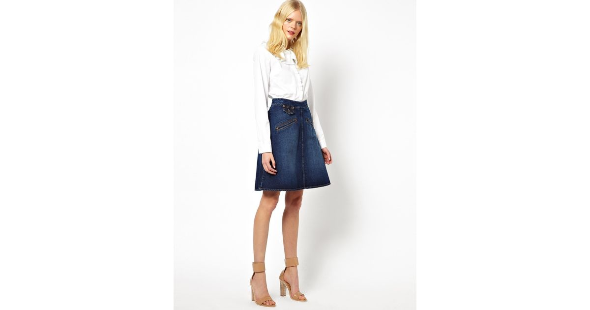 329c959c See By Chloé Blue 70s A Line Skirt