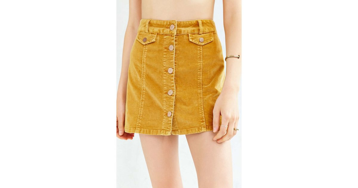 5c8cc9704 BDG Corduroy Button-front Mini Skirt in Yellow - Lyst