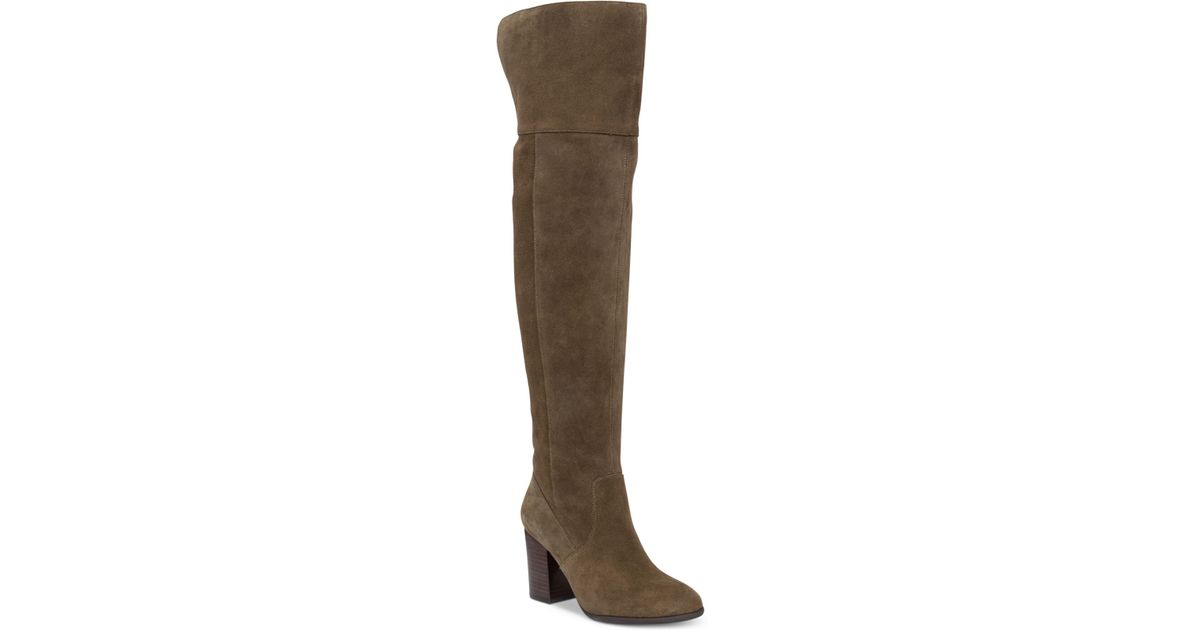 ebyy the knee suede boots in green