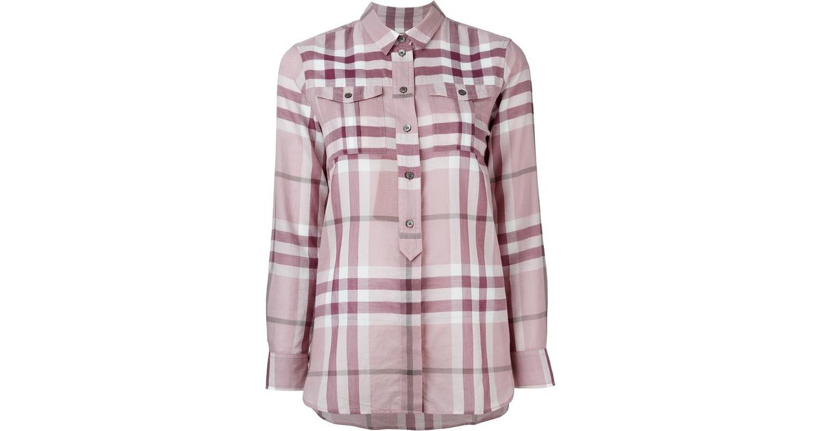be0f0d12cc9eac Burberry Brit Checked Shirt in Purple - Lyst