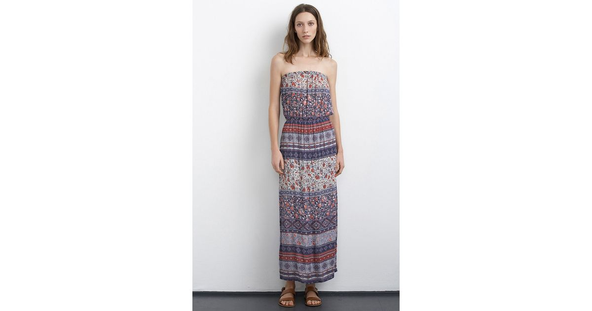 Velvet by graham &amp spencer Kearn Cotton Nehru Print Strapless Maxi ...