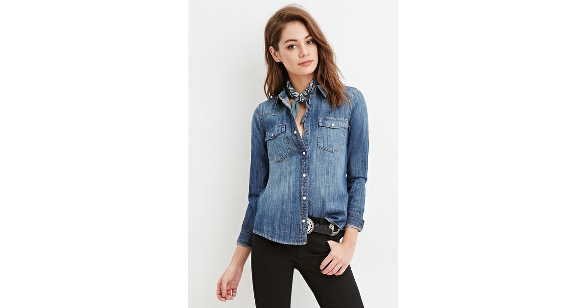 Forever 21 snap buttoned denim shirt in blue lyst for Mens shirts with snaps instead of buttons