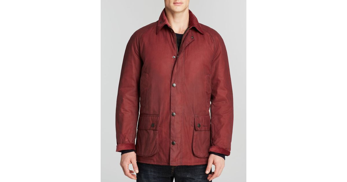 Barbour Ashtone Waxed Cotton Jacket In Red For Men Lyst