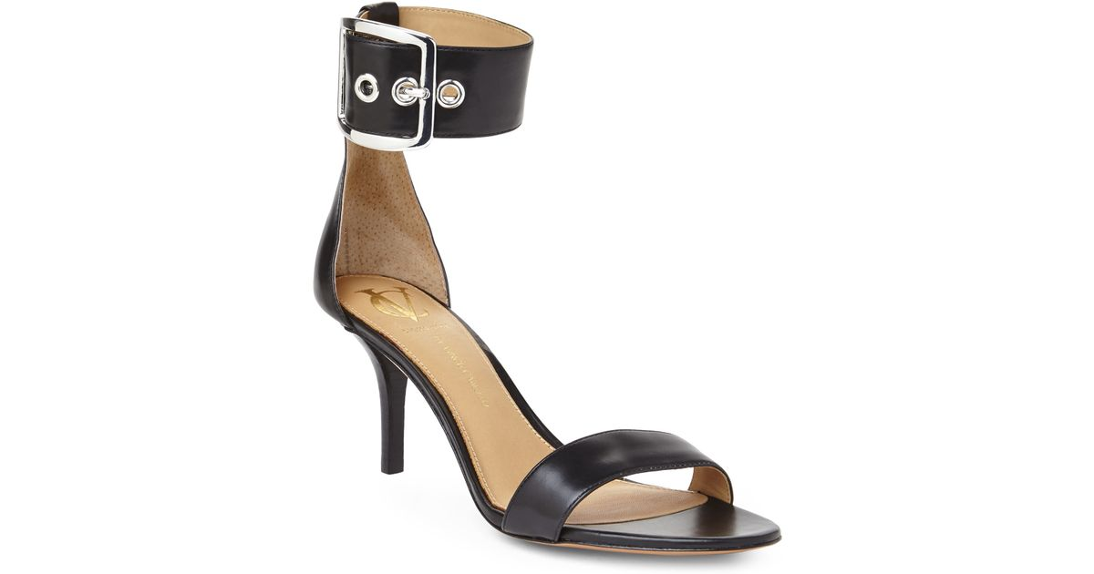 vince camuto signature black vinetta ankle cuff sandals in