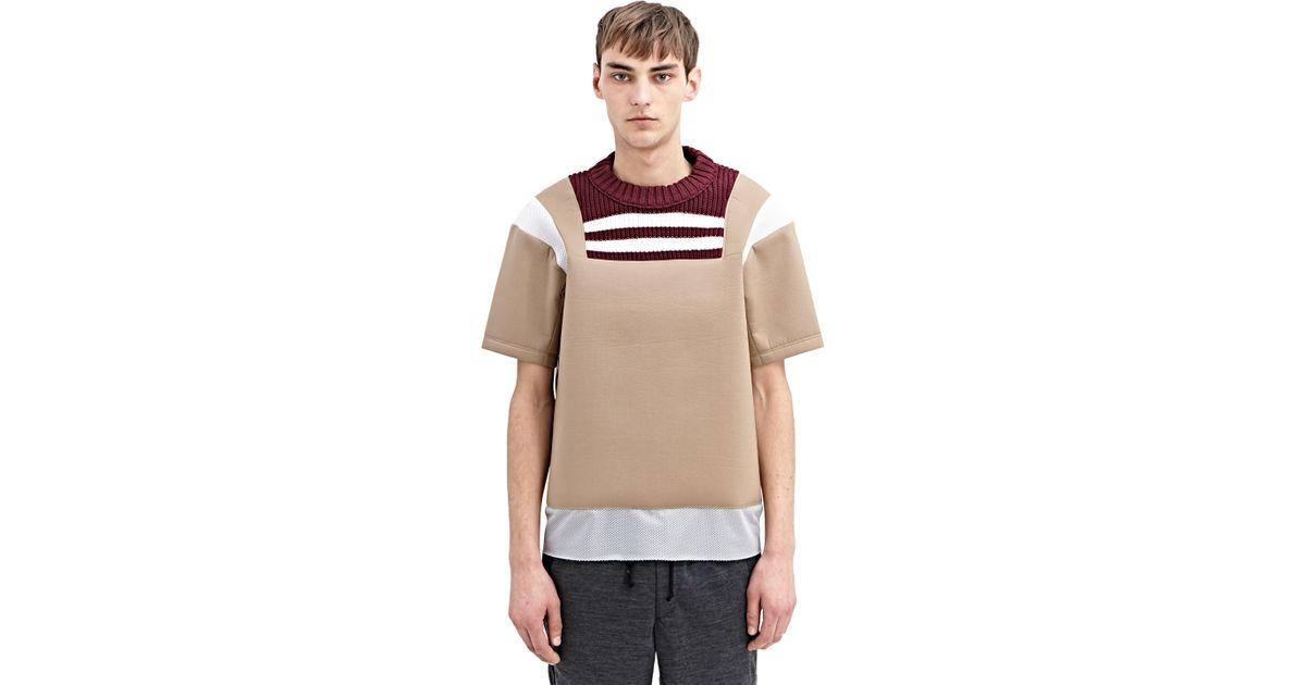 Kolor High Tech Crew Neck T Shirt In Brown For Men Lyst