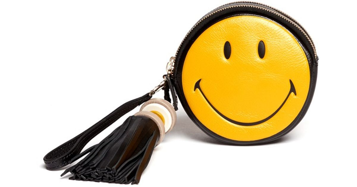 Clutch In Round Smiley' Hindmarch 'hadlow Anya Yellow Lyst wgAOYWqXcx
