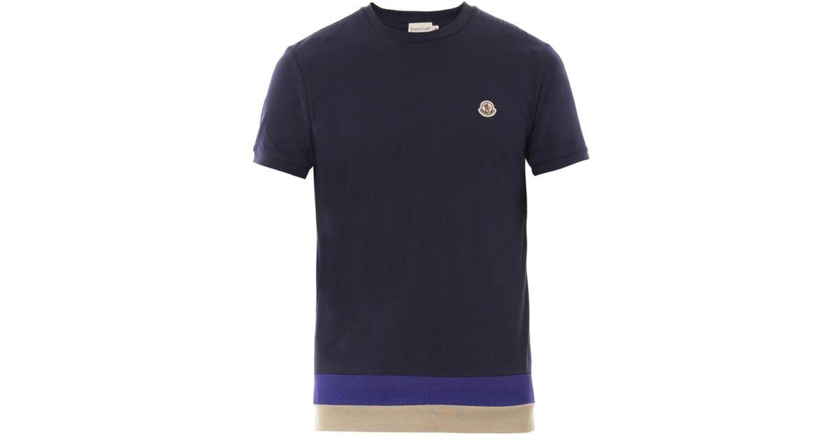 05f4b2b72 Moncler Blue Crewneck Cotton Tshirt for men