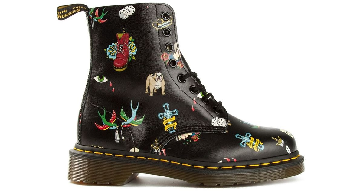 detailed pictures hot sale online lowest discount Dr. Martens Black '1460' Tattoo Print Boots