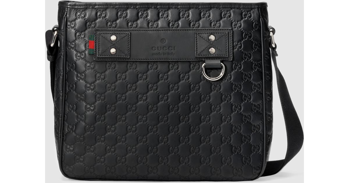caa6dc79f043 Gucci Rubber Ssima Messenger in Black for Men | Lyst GG Supreme belt bag ...
