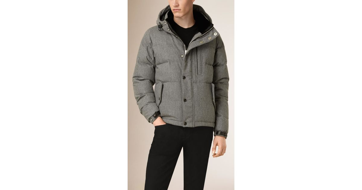 5be0b3b75c75 Lyst - Burberry Wool Cashmere Down-filled Puffer Jacket With Rabbit Fur  Trim in Gray for Men