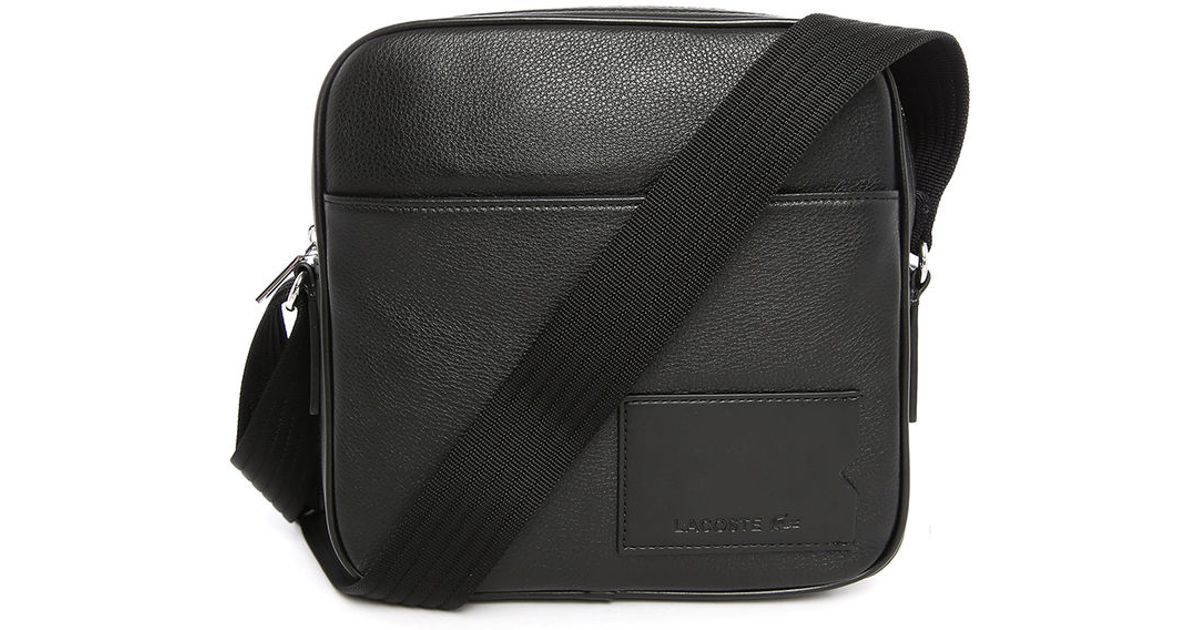 Amazing Lacoste Black Small Format Fabric Shoulder Bag In Black For Men  Lyst