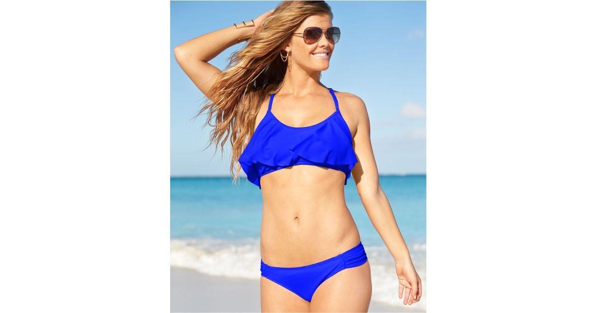 39d210709d029 Lyst - Jessica Simpson Flounce Bikini Top in Blue